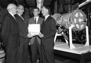 Sinus Cones inventor, Ernest Santin, recieves Zero-Defect Award from General Electric Jet Engine Division